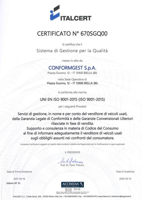 ConformGest ConformGest ottiene la Certificazione ITALCERT UNI EN ISO 9001-2015