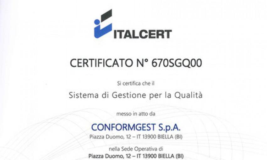 ConformGest ottiene la Certificazione ITALCERT UNI EN ISO 9001-2015